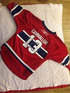 Red blue and white reebok cammalleri 13 nhl jersey shirt