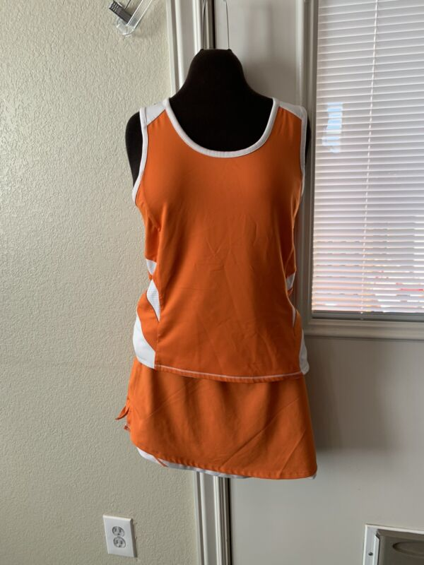 Tennis Outfit Reversible Matching Tank Top And Skirt  Brand DUC Orange And White