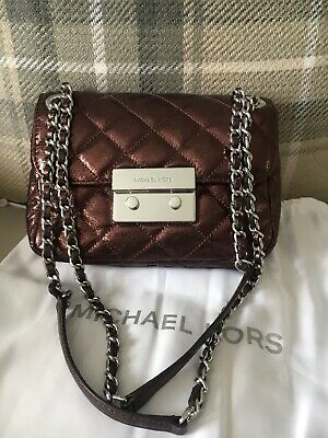 Michael Kors Shoulder Cross Body Bag Sloan Metallic Quilted Merlot Red Leather