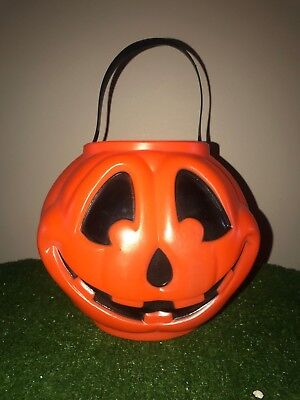 Rare Vintage Halloween Pumpkin Trick-Or-Treat Blow Mold Candy Pail