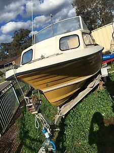 16 ft natiglass half cabin boat and trailer got rego Campbelltown Campbelltown Area Preview