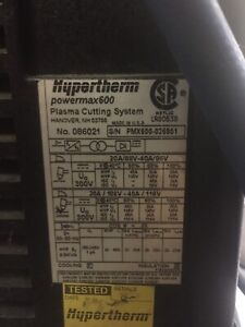 Plasma Cutter Hypertherm Powermax 600 with EXTRAS