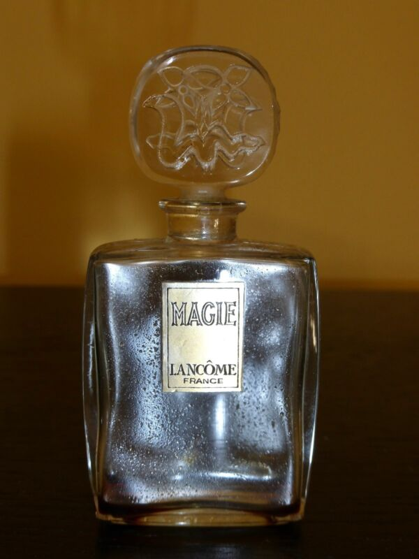 "Lancome Magie Early 1950s Perfume Bottle with Glass Etched Stopper - 3.5"" Tall"