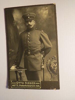 Metz - stehender Soldat mit Bart in Uniform - KB IR 8 ? / CDV