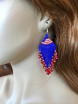 NEW WOMEN PATRIOTIC BEADED HANDMADE NATIVE INSPIRED DROP/DANGLE EARRINGS - Patriotic Earrings