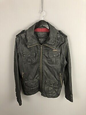 SUPERDRY Leather Bomber Jacket - Medium - Black - Great Condition - Men's