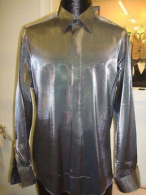 Rare - Raffinati Shinny Silver Satin Fly Front Tuxedo Dress Shirt - 18.5 x 35