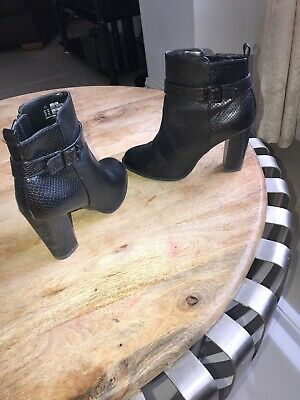 Used, F&F Women's Black Faux Leather Ankle Buckle Boots Side Zipper Size UK 6.5, EU 40 for sale  Shipping to South Africa