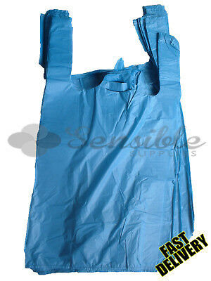 100 x STRONG BLUE PLASTIC VEST CARRIER BAGS 11X17X21