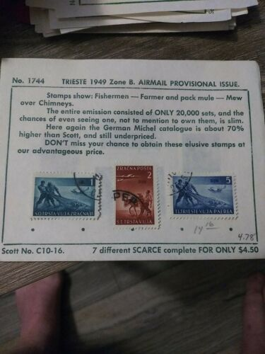 TRIEST B ZONESTAMPS AIRMAIL 1949  - $1.99