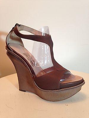 Salvatore Ferragamo Brown Tan Leather Platform Sandal High Heel Wedge Size 9.5