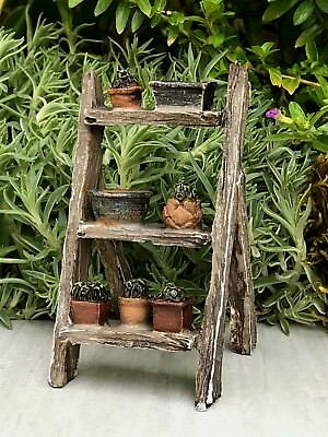Miniature Dollhouse FAIRY GARDEN Accessories ~ Mini Rustic Plant Ladder ~ NEW
