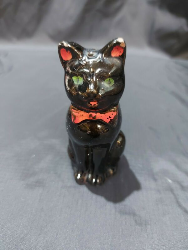 Vintage Collection Black Cat With Green Eyes And A Red Bowtie Salt Shaker