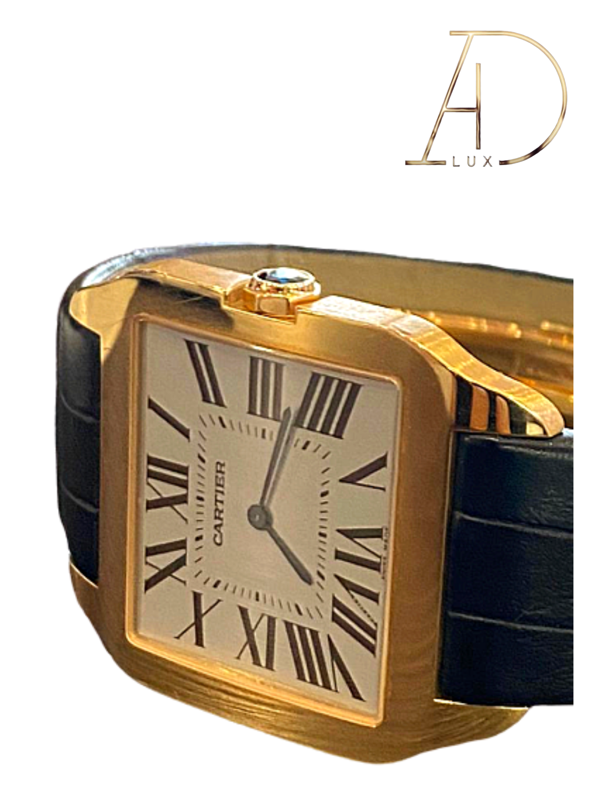 CARTIER  –  SANTOS DUMONT 18KT ROSE GOLD BLACK BAND W20006951 - watch picture 1