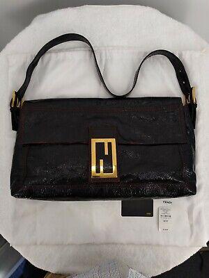 NWOT Fendi Black Textured Patent Leather Baguette Bag w/ FF Clasp MSRP $1,330!!!