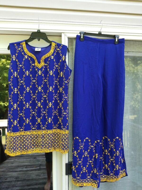 Paaneri Sleeveless 2 Peice Outfit XL Mumbai India Beautiful Navy Blue