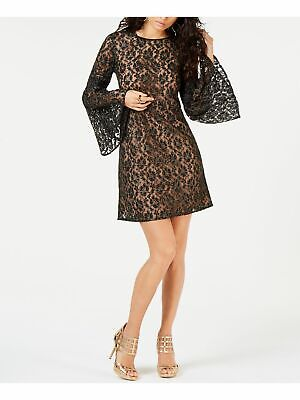 MICHAEL KORS $175 Womens New 1076 Black Metallic Lace Long Sleeve Shift Dress S