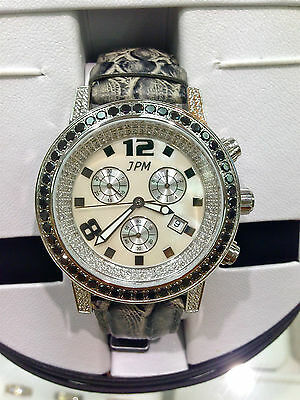 Techno Jpm Chronograph  Natural Black And White Diamond Snake Skin Leather Watch