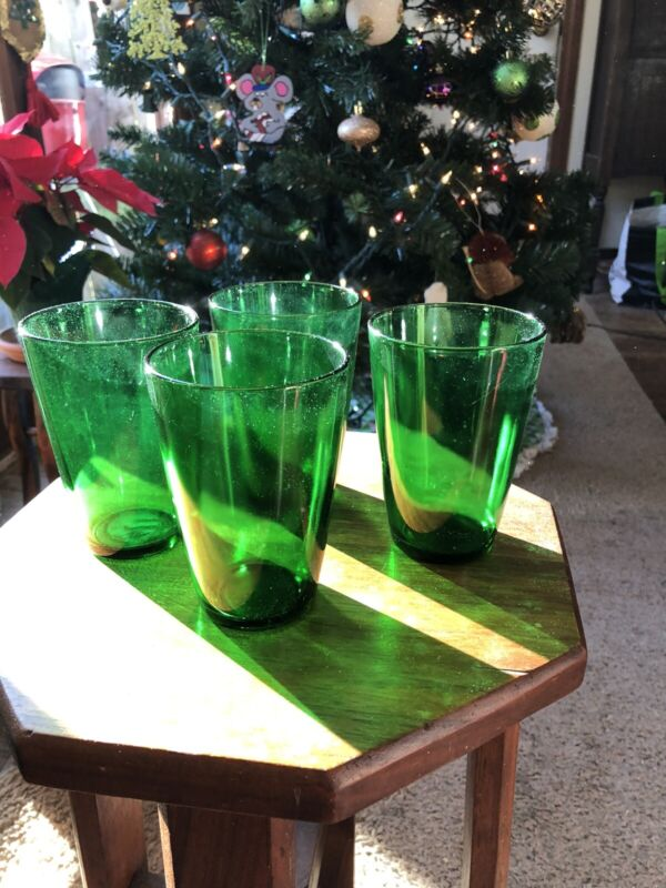anchor hocking Forest Green Set Of 4 Glasses 10 Oz