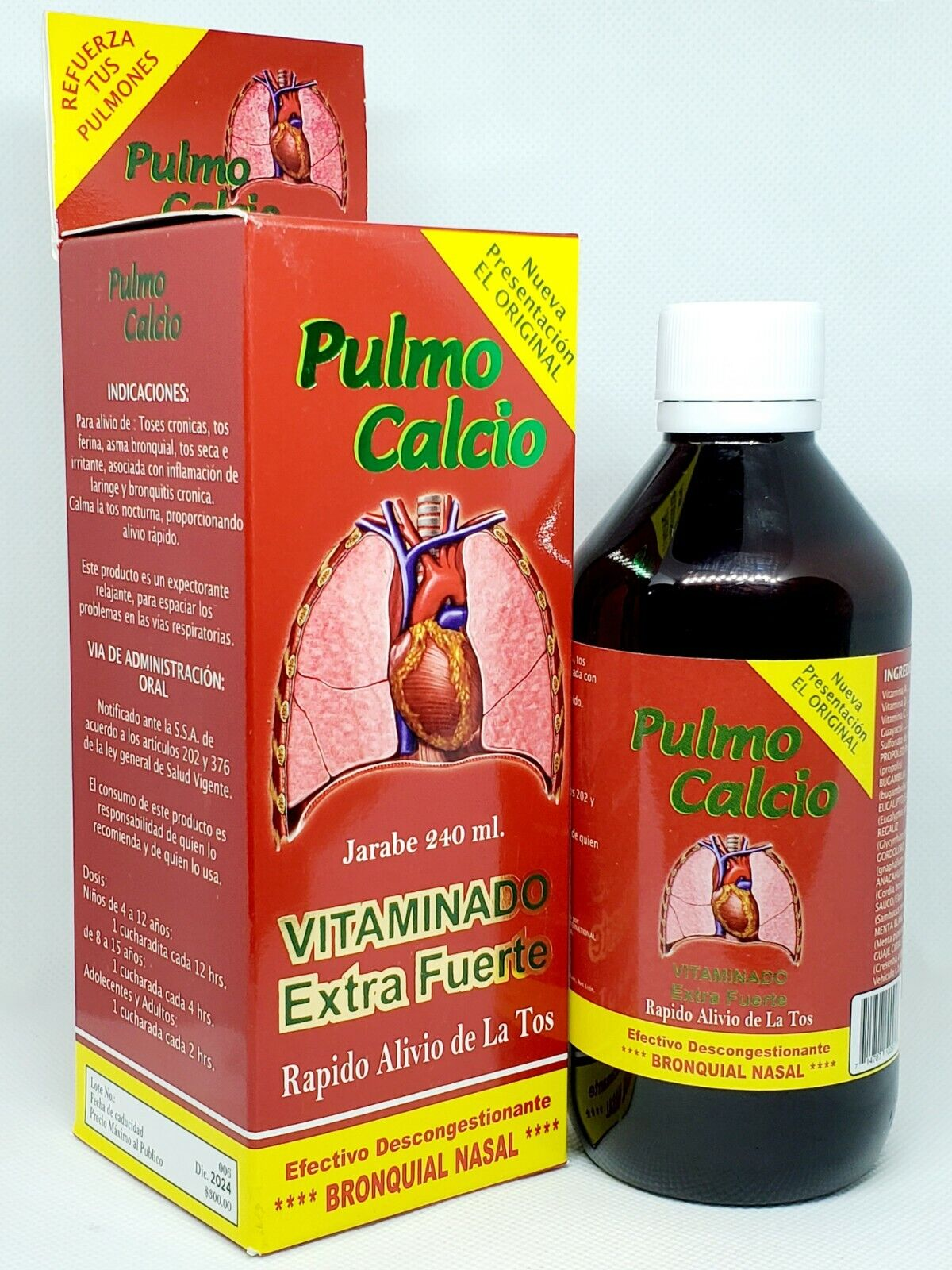 Pulmo Calcio Jarabe Expectorante Extra Fuerte Vitaminado Tos 240 ml. Syrup