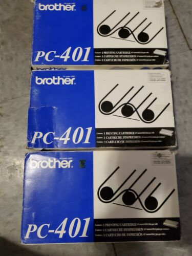 LOT of (3) Brother PC-401 Thermal Print Cartridge Ribbon Black