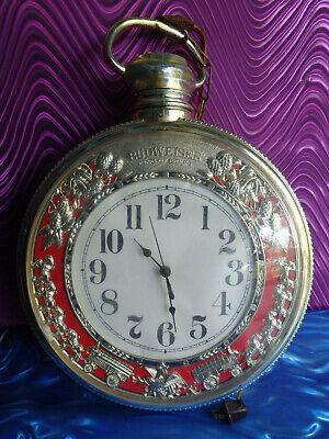 Vintage Budweiser Beer Bar Advertising Pocket Watch Style Clock Sign