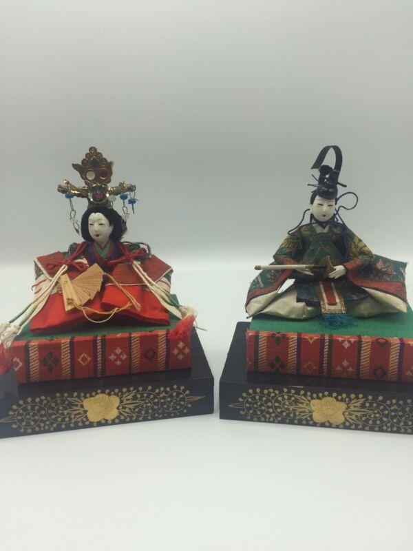 Antique Japanese Hino Hina Dolls Emperor & Empress Kyoto Wooden Box Collectible