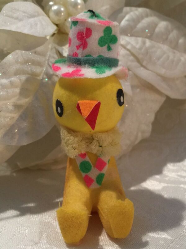 Vintage Little Yellow Flocked Chick Figure Easter Ornament Christmas Made Japan