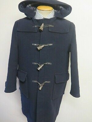 "Genuine Burberry Wool Duffle Duffel Coat Raincoat XS 34-36"" Euro 44-46 Navy Blue"