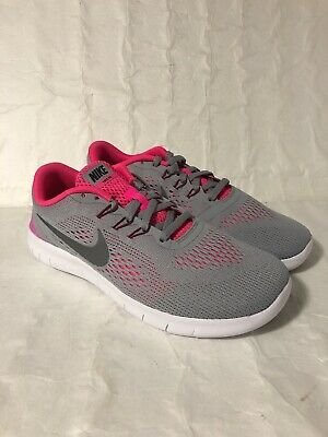 Nike Free RN GS WOLF GREY SILVER PINK 833993-001 KID'S RUNNING SHOES GIRLS](Pink Girls Shoes)