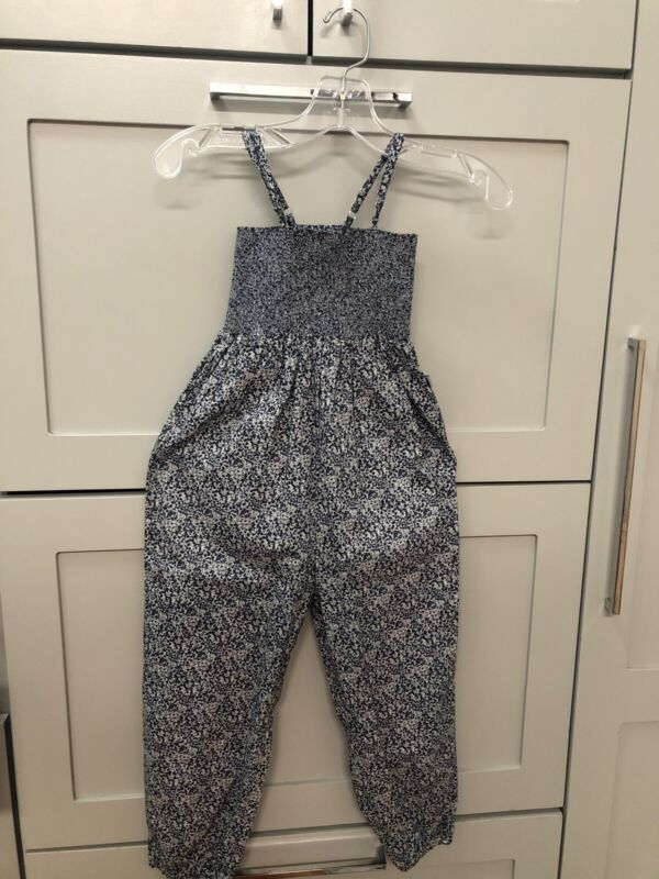 Wheat Brand Blue Floral Girls Jumpsuit Size 5 NWT