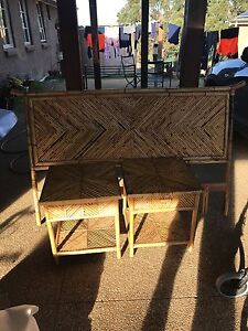 Bamboo Bed Head and side tables with large side dresser! Yarrambat Nillumbik Area Preview