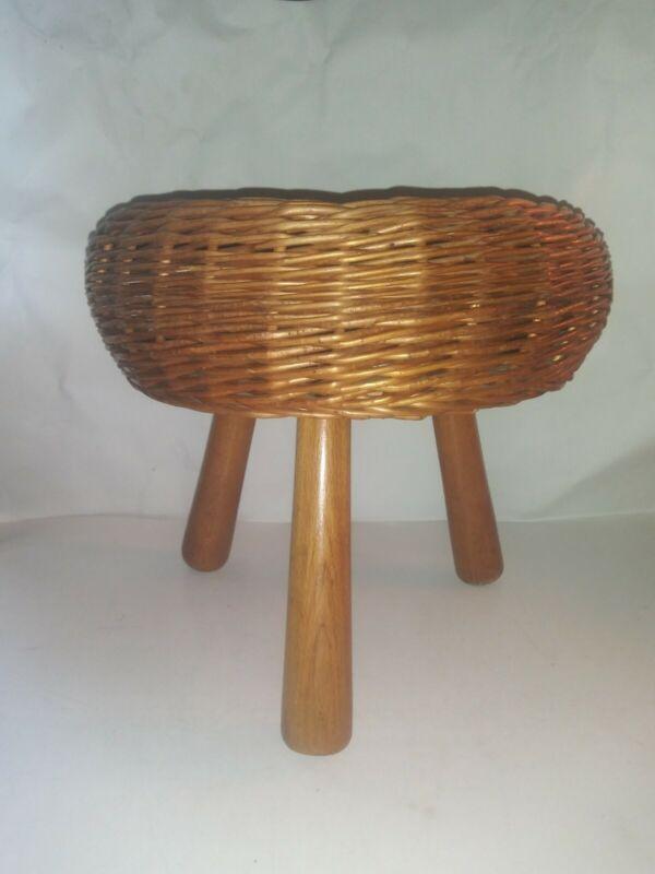 Mid Century Tony Paul Excellent Wicker Cute Little 3 Legged Stool Table