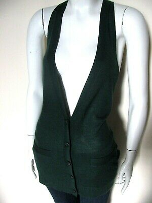 Button Front Knit Vest - Theory 100% Cashmere Button Front Knit Womens Dark Green Sweater Vest Sz S $265