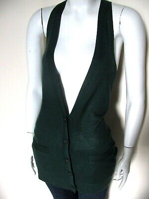Theory 100% Cashmere Button Front Knit Womens Dark Green Sweater Vest Sz S $265 Button Front Knit Vest
