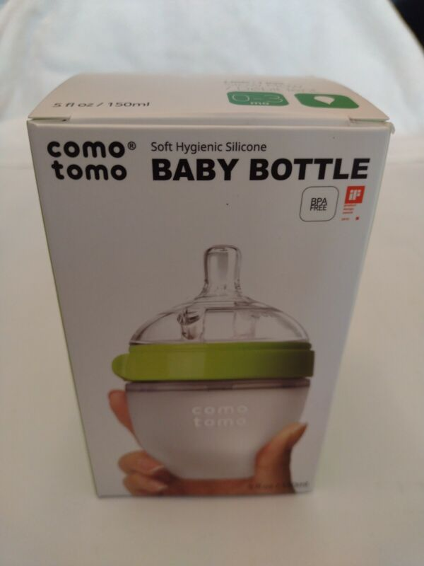 New-Open box Comotomo Baby Bottle, Green, 5 Ounce Single & Double & Nipple.