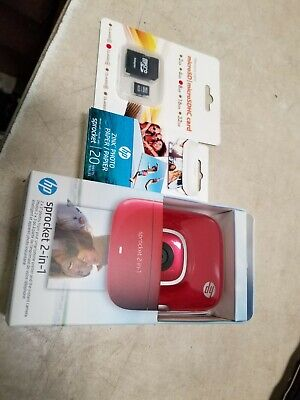HP Sprocket 2-in-1 Portable Photo Printer & Instant Camera Bundle - Red   New