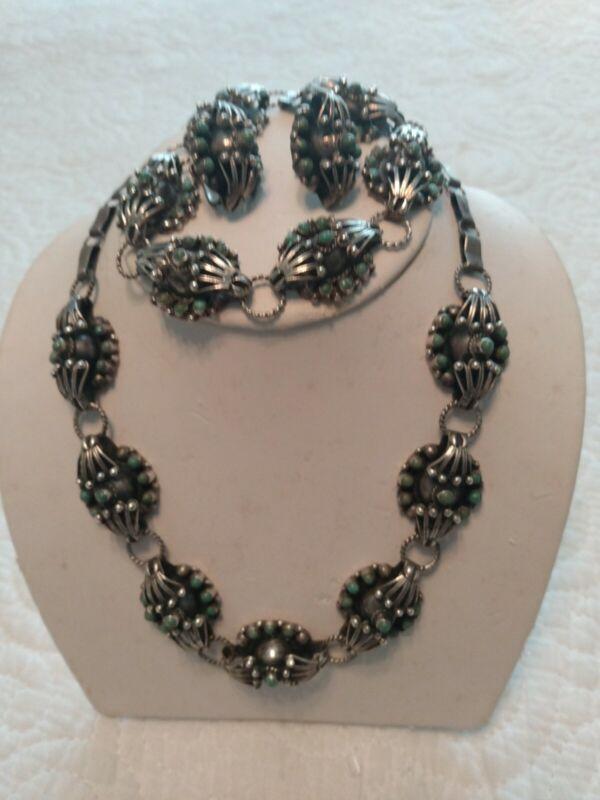 Sterling Silver 925 Turquoise Modernist Brutalist Set/Necklace Bracelet Earrings