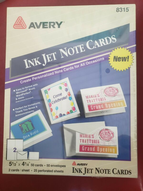 Avery 8315 Ink Jet Note Cards - Sealed in box, 50 cards with envelopes