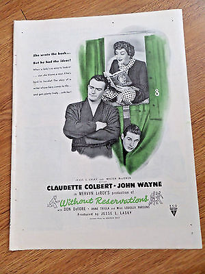 1946 Movie Ad Without Reservations Claudette Colbert & John Wayne