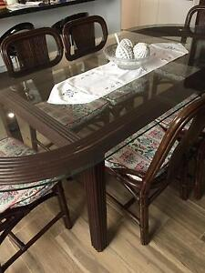 Retro beautiful Cane Dining Set - Oval table & 6 chairs Fremantle Fremantle Area Preview