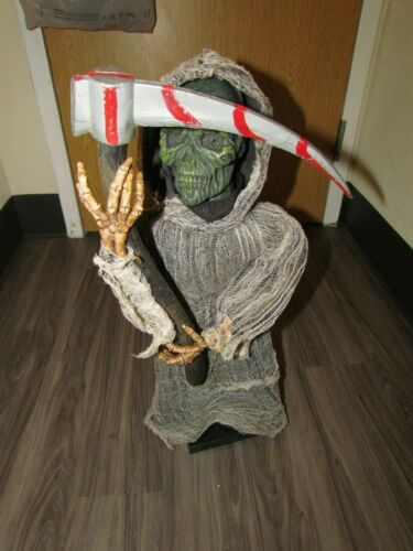 """2007 ANIMATED RARE GRIM REAPER PAC BVI 24"""" HEAD SPINS EYES LIGHT SICKLE BLOOD"""