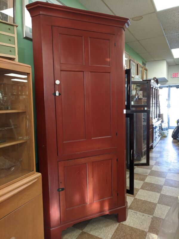 Antique 1830 Corner Cabinet, Pennsylvania repaint red