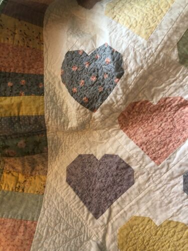"""Hearts, Boy & Girl Applique Quilt Wall Hanging 41"""" W x 50"""" L"""