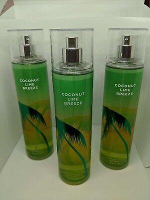 Coconut Bath (3 Bath & Body Works COCONUT LIME BREEZE Fine Fragrance Mist Perfume 8oz/each)