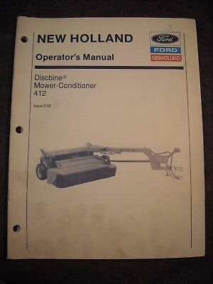 Used New Holland Discbine Mower Conditioner 412 Operators Manual