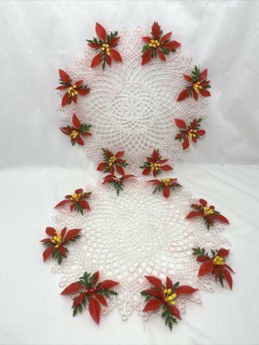 "2 White Plastic Lace Doily w/ Poinsettia Leaves 11"" Christmas Decor Vintage MCM"