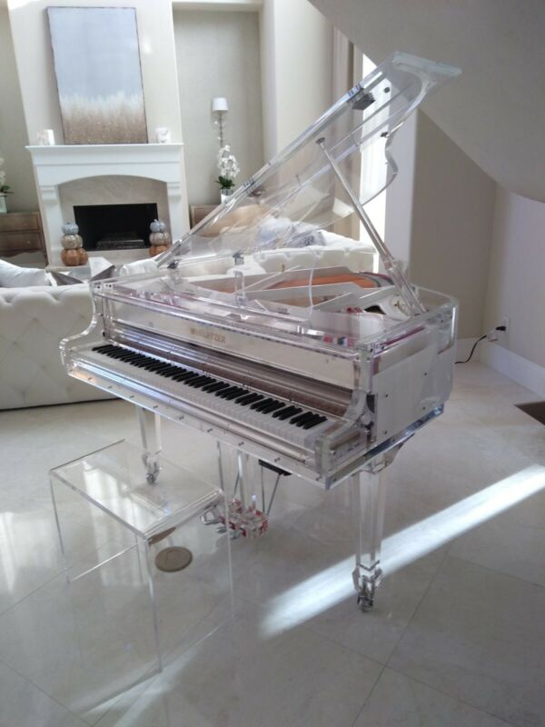 """5' 2"""" NEW Crystal Clear Modern Unique Baby Grand Piano, See video, Can deliver"""