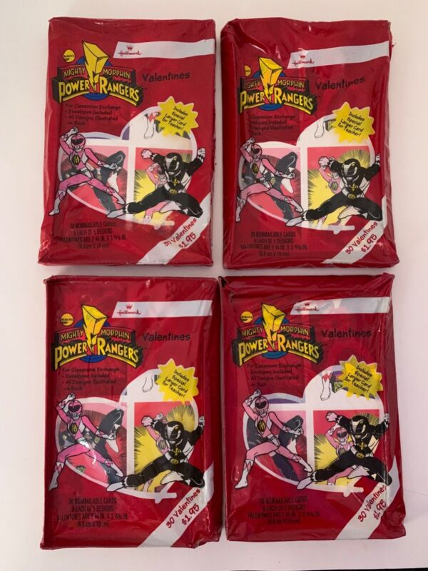 4 1994 MIGHTY MORPHIN POWER RANGERS VALENTINE DAY CARDS