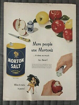 Morton's~Salt~When~It~Rains~It~Pours~Girl~Umbrella~1949 Vintage Print AD A22